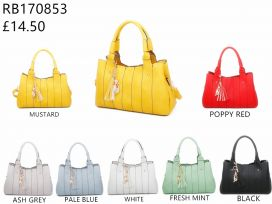 RB170853  Top-Handle Handbag With Cat & Tassel Charms