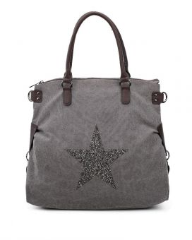 RX160163-Canvas Tote Bag With Glitter Star Patterned