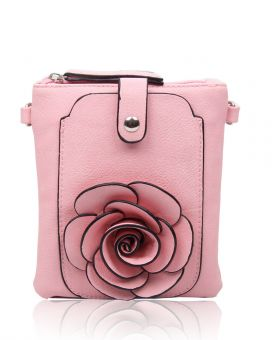 F003  3D Rose Patterned Pouch Bag