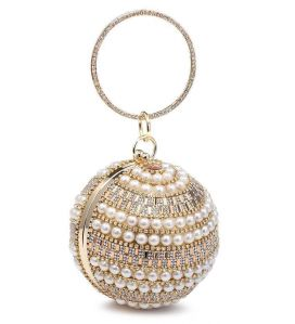 RZ1809 Beautiful Lady Spheric Small Evening Bag decorated with Pearls and Crystals